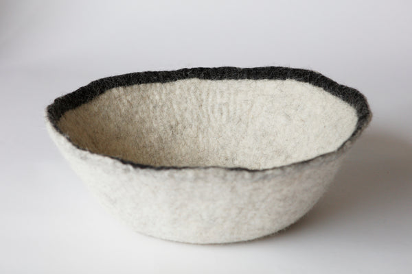 Hand Felted Bowl with Black Rim