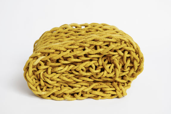 Large Knitted Throw - Gamboge Gold