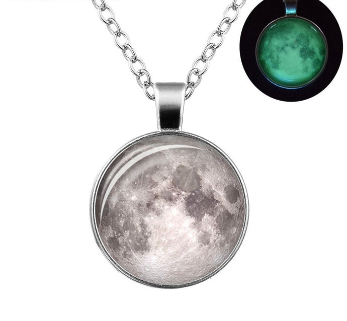Moon Pendant  Necklace (Glows in the Dark)