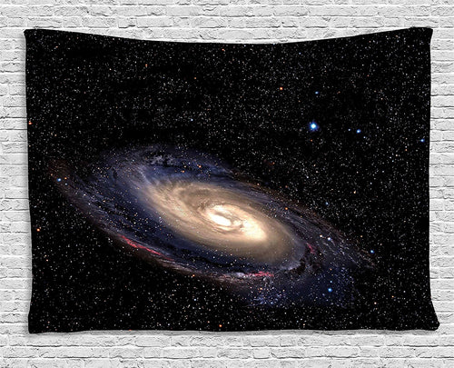 Galaxy Tapestry, Spiral Universe in a Field of Stars Astronomy Theme Deep Outer Space Arts Print, Wall Hanging Tapestry