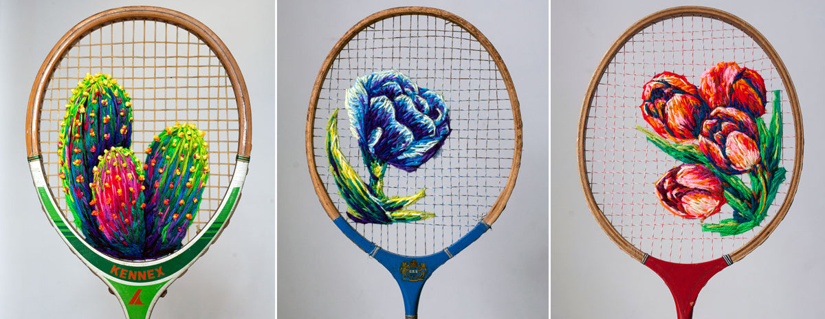 Danielle Clough Embroidered Rackets