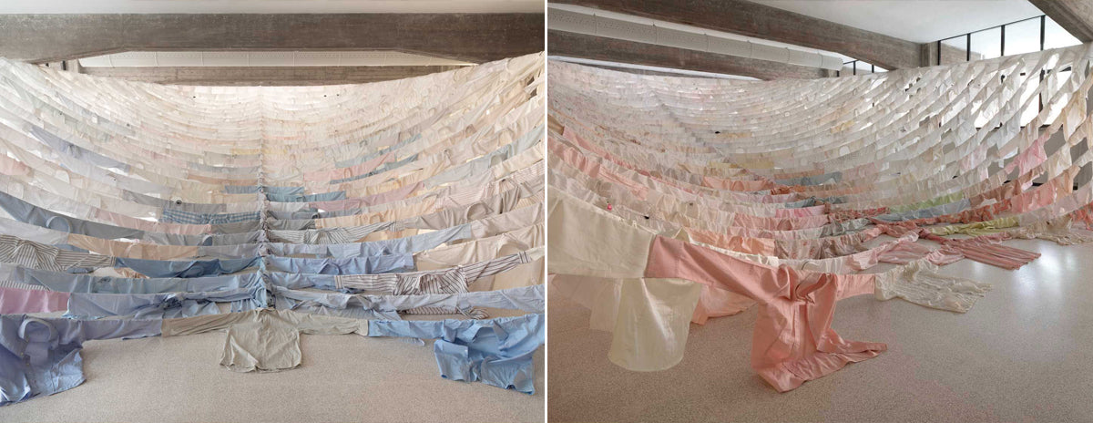 Installation with shirts by Kaarina Kaikkonen