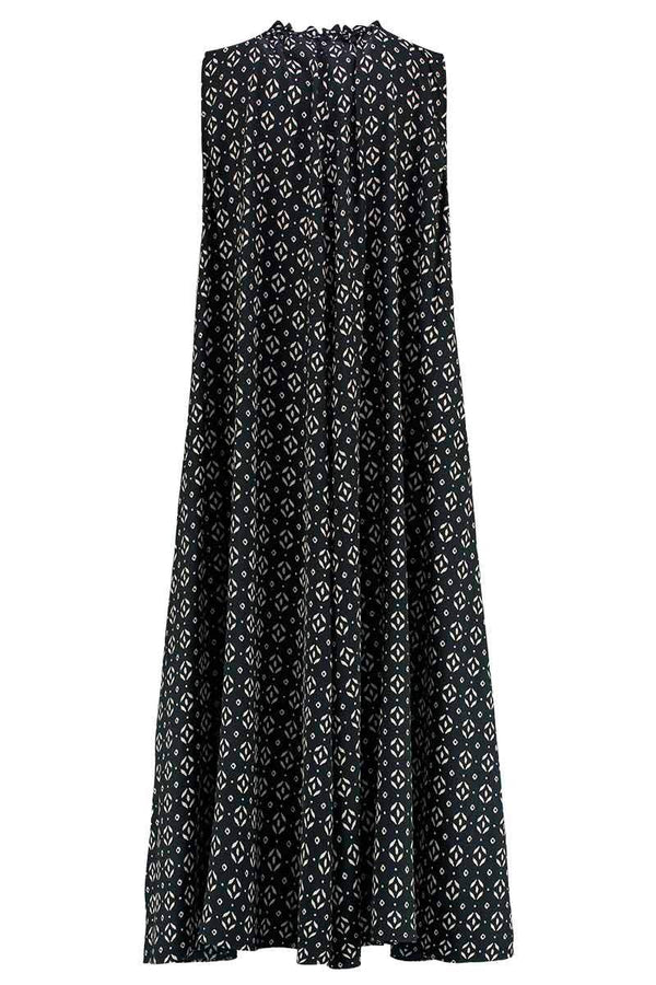 Kaia Black Silk Print Midi Dress