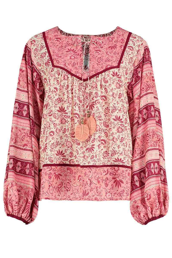 Poppy Pink Silk Print Top