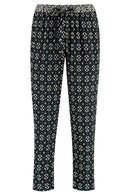 Kaia Black Silk Print Peg Trouser