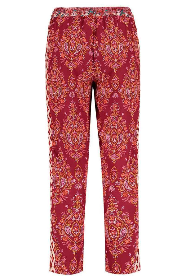 Anya Berry Print Silk Peg Trouser