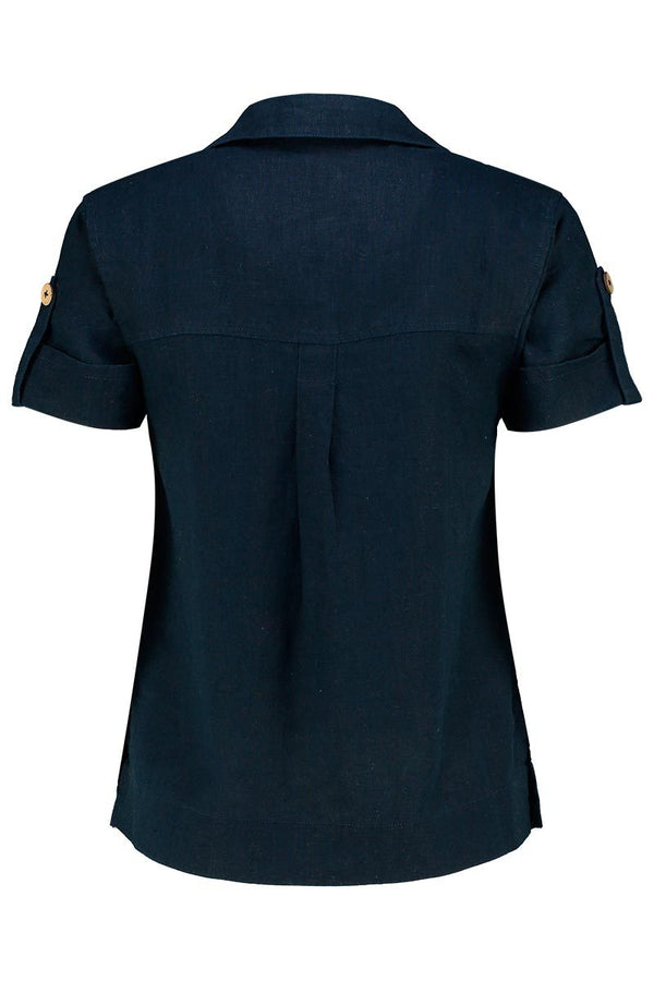 Jen Navy Linen Short Sleeve Shirt