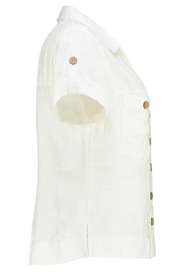 Jen White Linen Short Sleeve Shirt