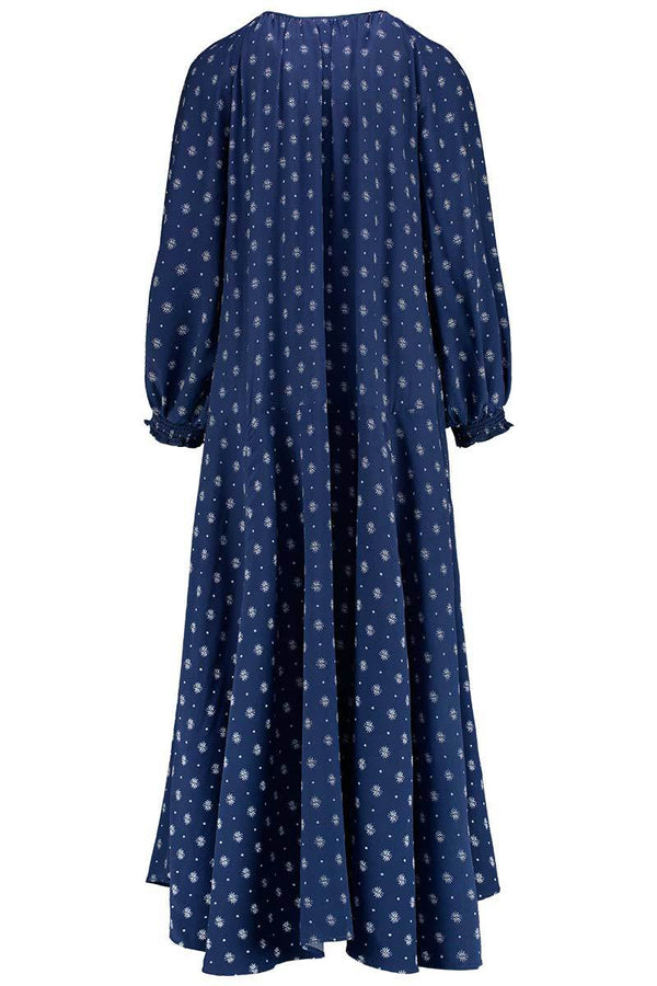 Eastern Sun Navy Silk Print Maxi Dress