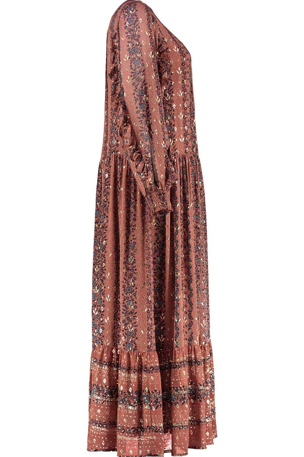 Aniko Brown Foil Print Maxi Dress