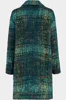 Astrid Teal Check Wool Blend Coat