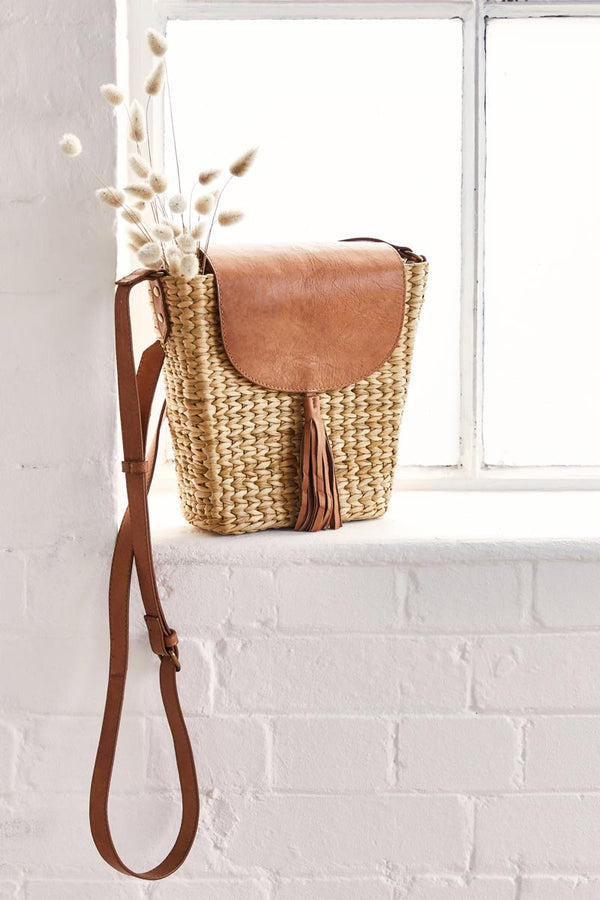 Anthea Leather And Jute Box Bag