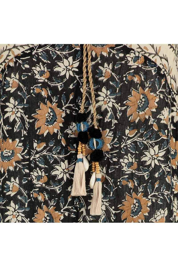 Avalon Black Organic Cotton Print Top