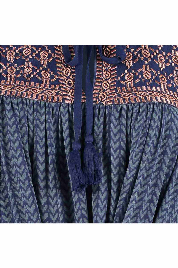 Annika Print Navy Midi Dress