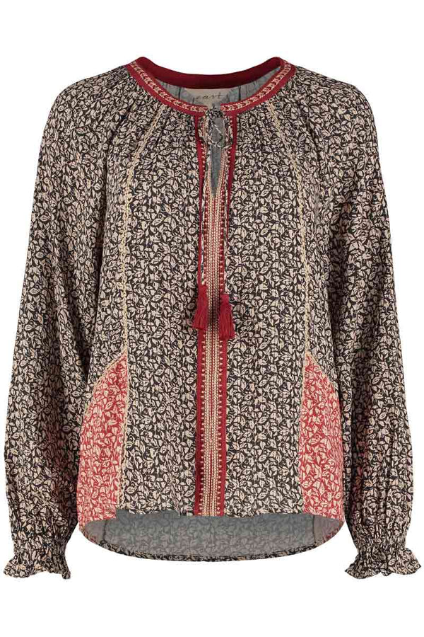 Laurie Red & Black Patch Print Blouse