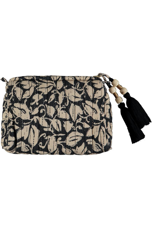 Laurie Black Quilted Make-up Bag