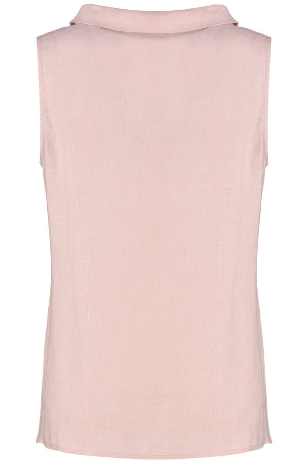 Bardot Sleeveless Pink Linen Top