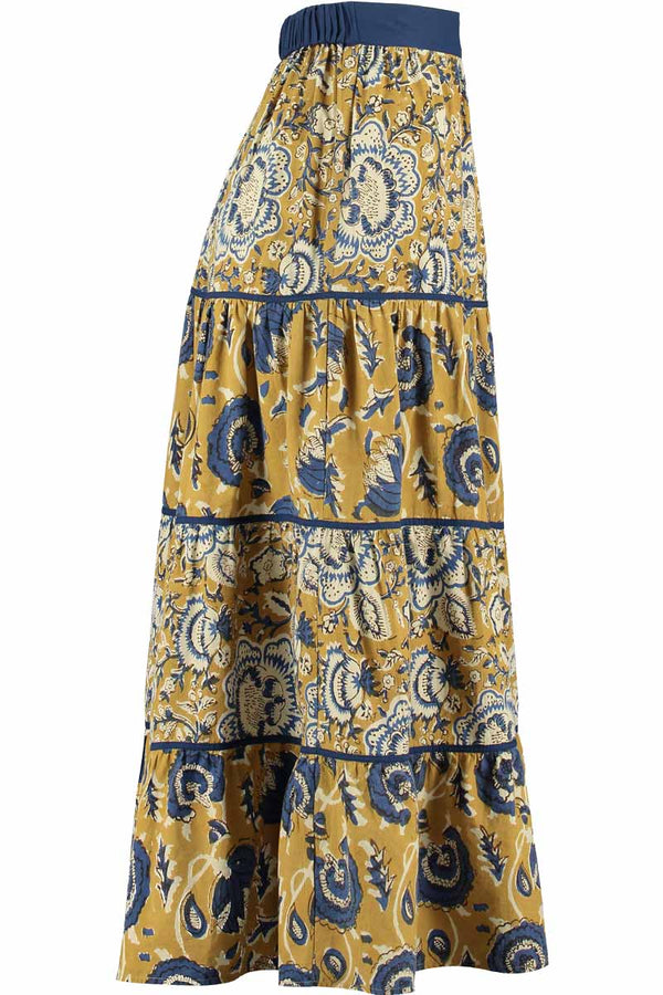 Jeena Woodblock Print Maxi Skirt