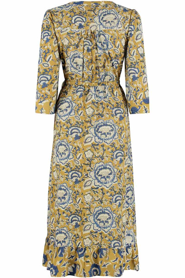 Jeena Woodblock Wrap Midi Dress