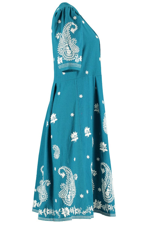 Megan Teal Embroidered Dress