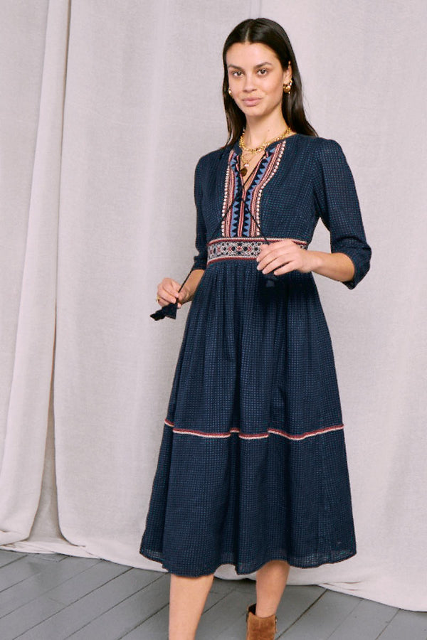 Adalie Embroidered Midi Dress