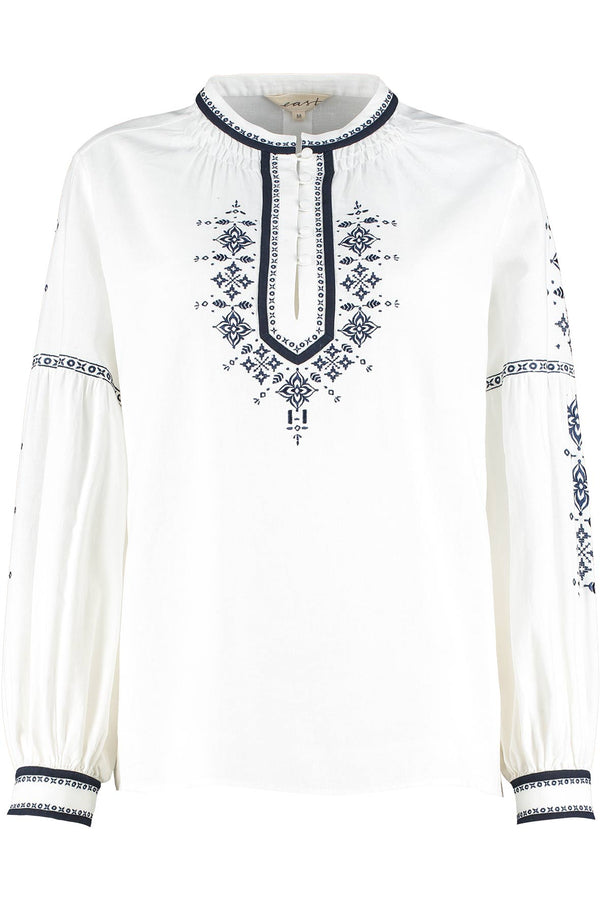 Aliya White Embroidered Khadi Blouse