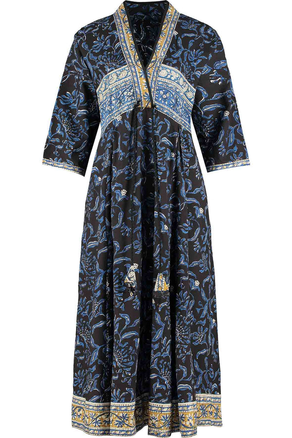 Atikah Black Organic Cotton Print Dress