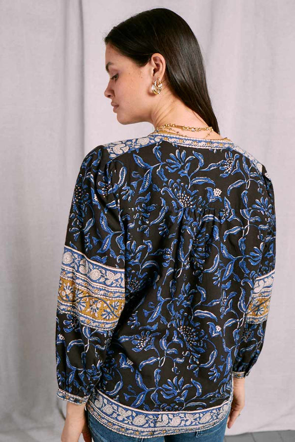 Atikah Black Organic Cotton Print Top