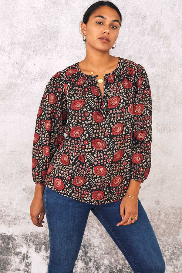 Aarti Organic Cotton Woodblock Top