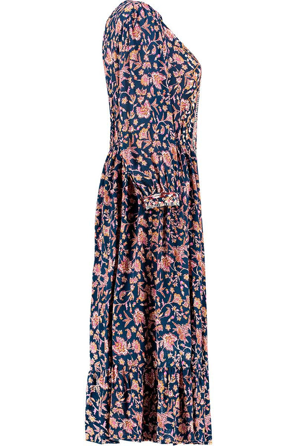 Aida Print Embroidered Midi Dress