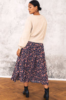 Aida Print Button Through Midi Skirt
