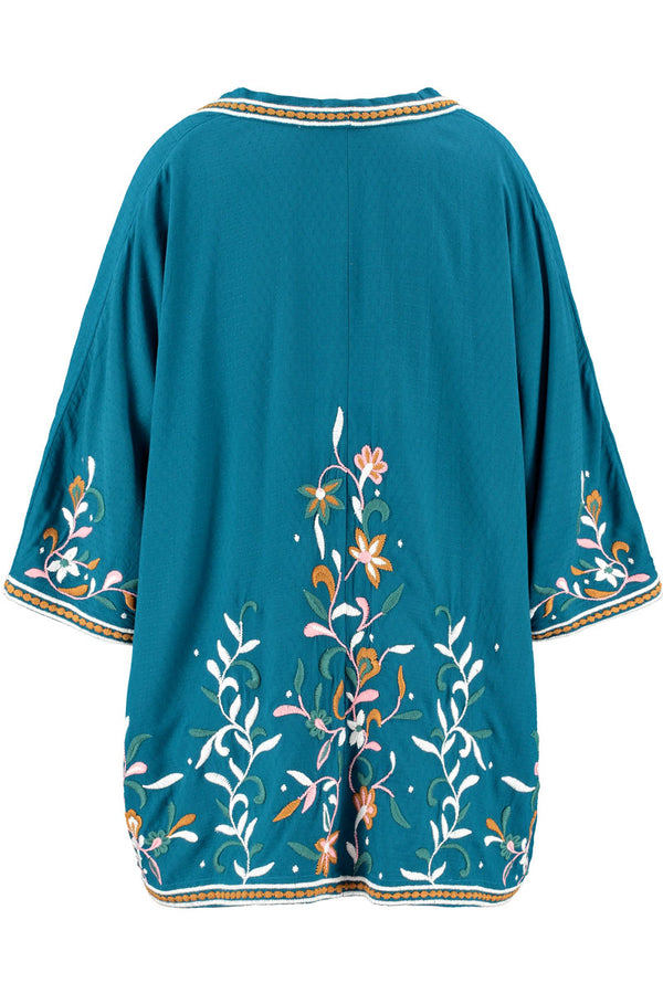 Astrid Embroidered Teal Jacket