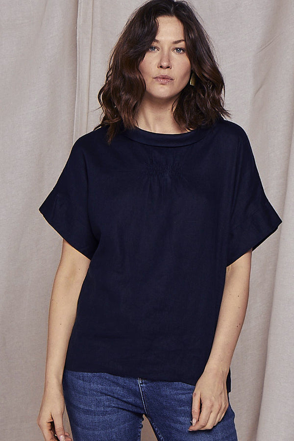 Bardot Navy Linen Top