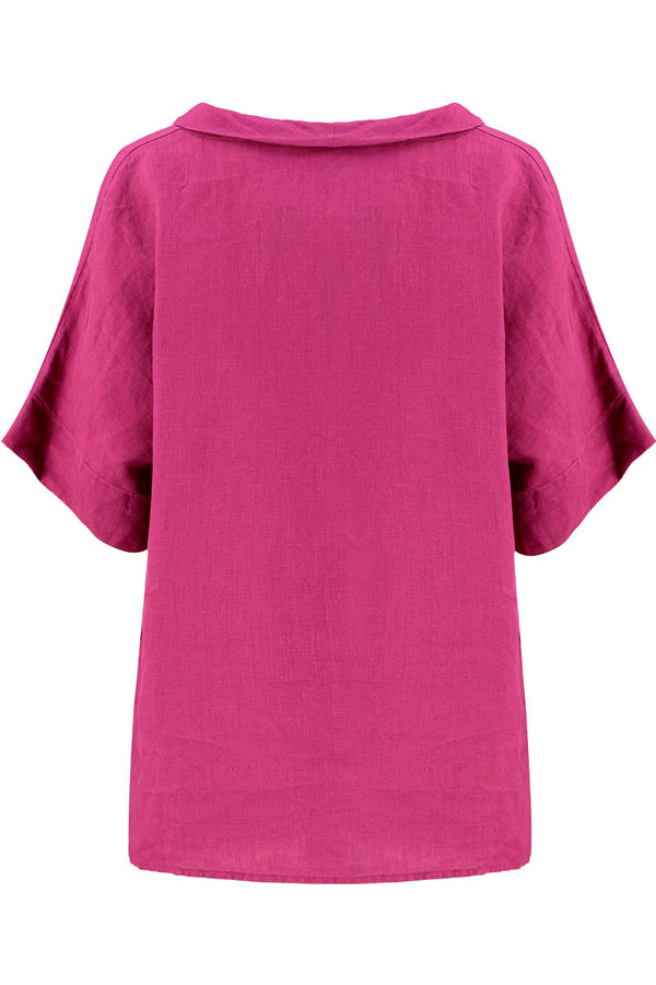 Berry Linen Bardot Top