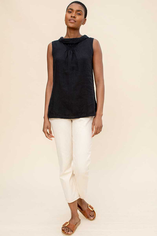 Black Linen Bardot Top
