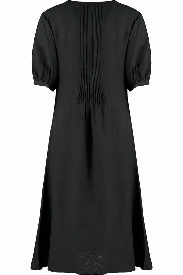 Black Linen Pintuck Dress
