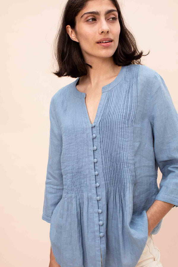 Blue Linen Pintuck Blouse