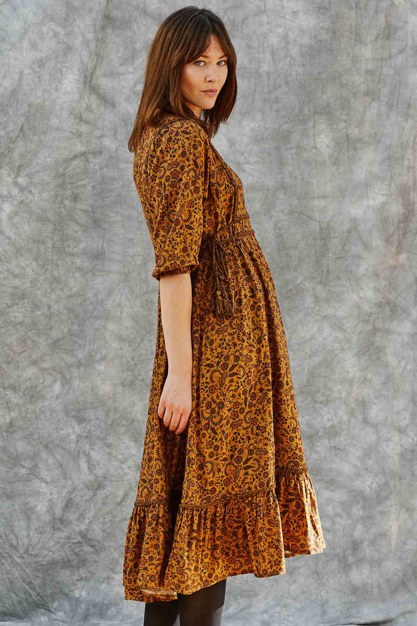 Cassia Ochre Print Dress