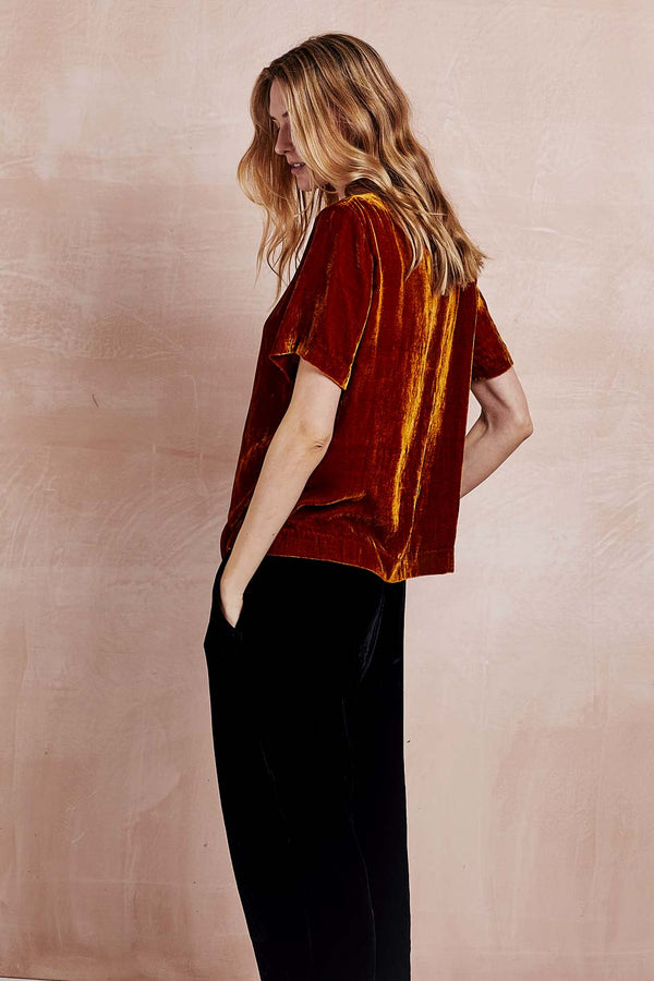Camryn Orange Silk Velvet Tee