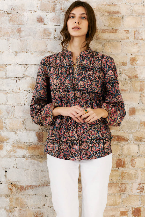 Delia Organic Cotton Woodblock Blouse
