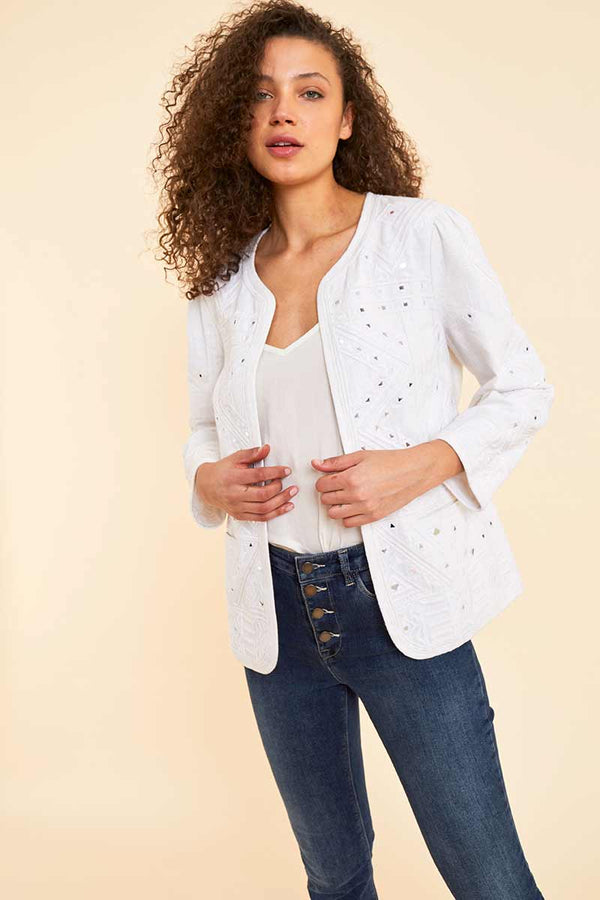 Devon White Embroidered Jacket