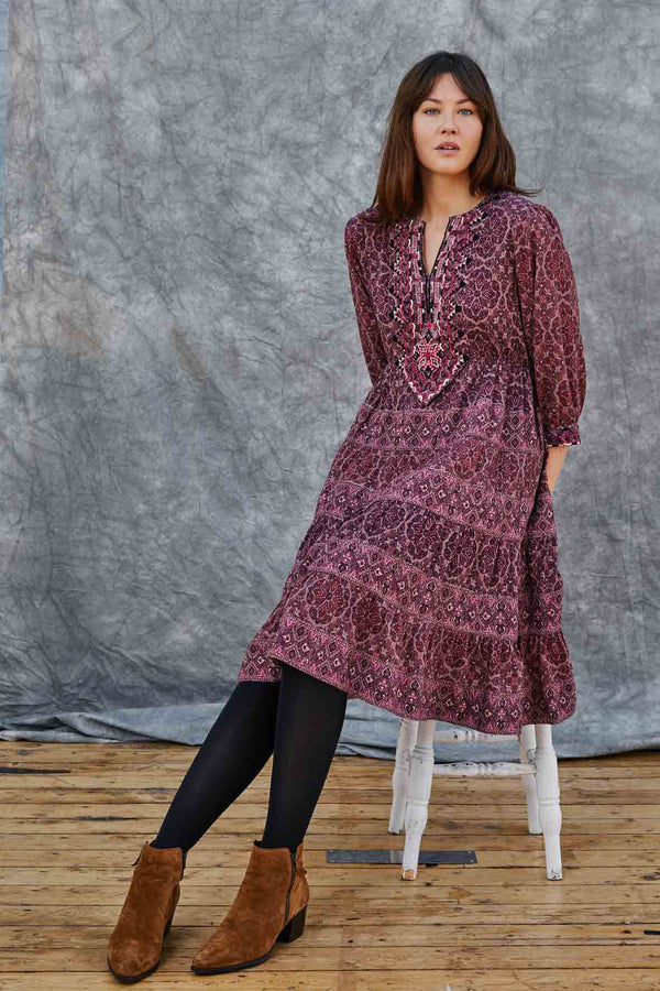 Ellie Berry Print Embroidered Dress