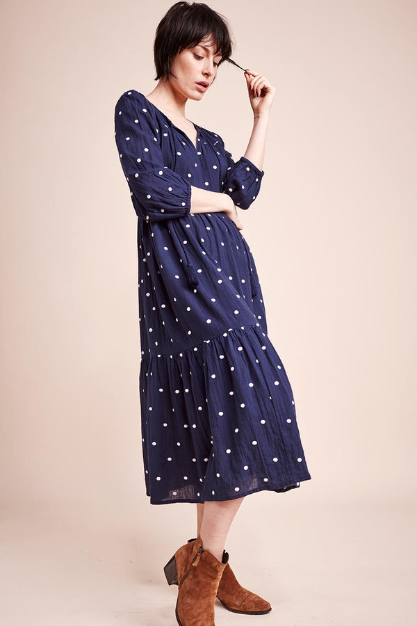 Eva Embroidered Spot Organic Cotton Dress
