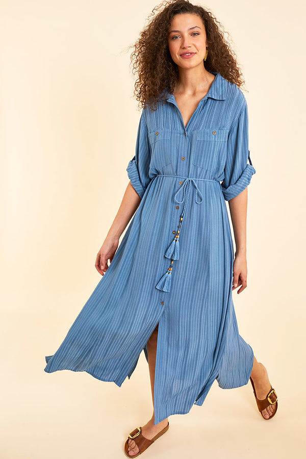 Evie Blue Shirt Dress