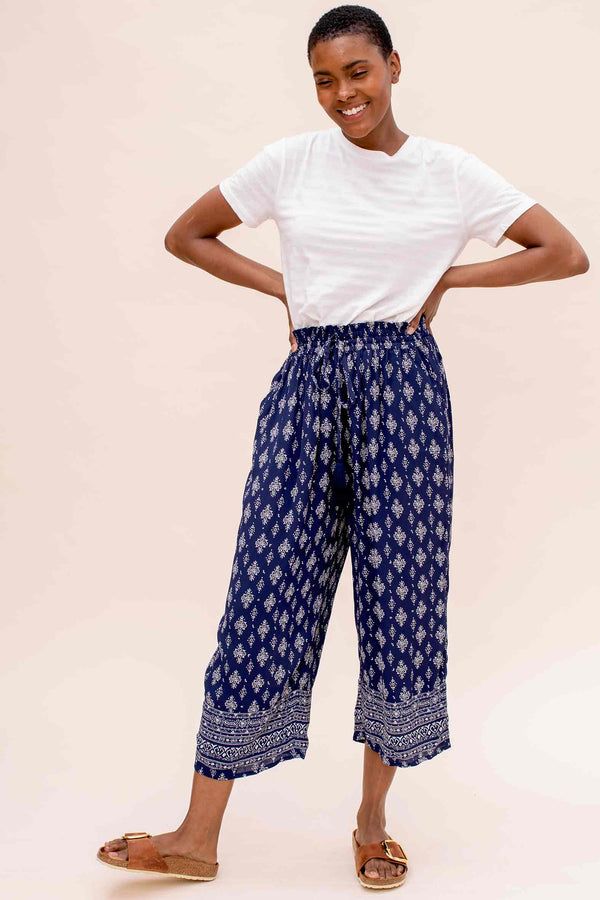 Garima Navy Printed Trouser