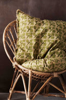 Green Printed Cushion Cover With Fringes