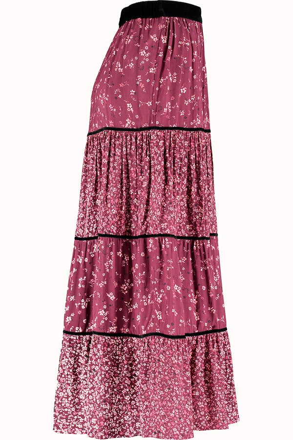Hazel Purple Print Maxi Skirt