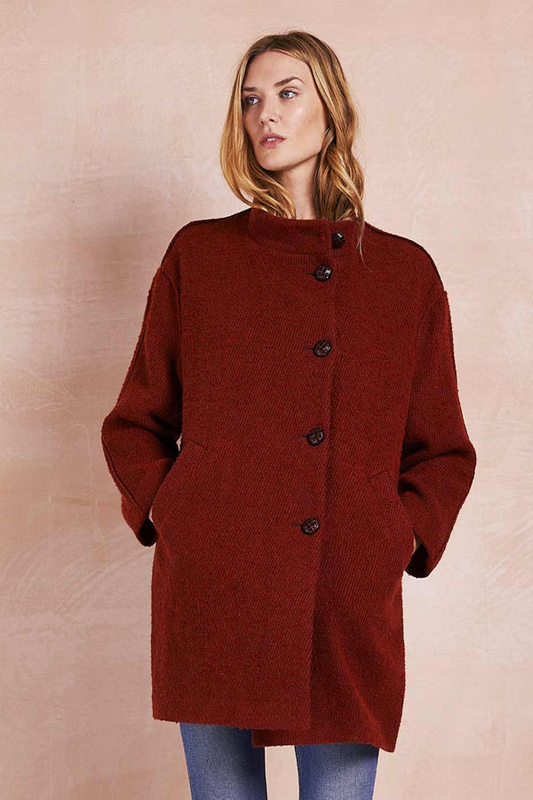 Honor Orange Cocoon Wool Blend Coat