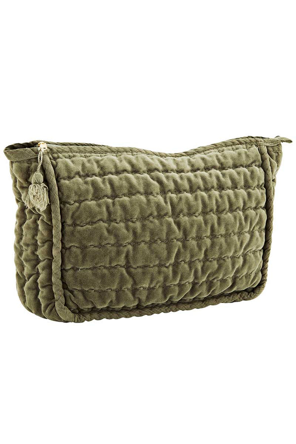 Jade Quilted Velvet Make Up Bag