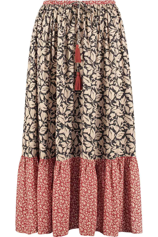 Laurie Red & Black Patch Print Skirt